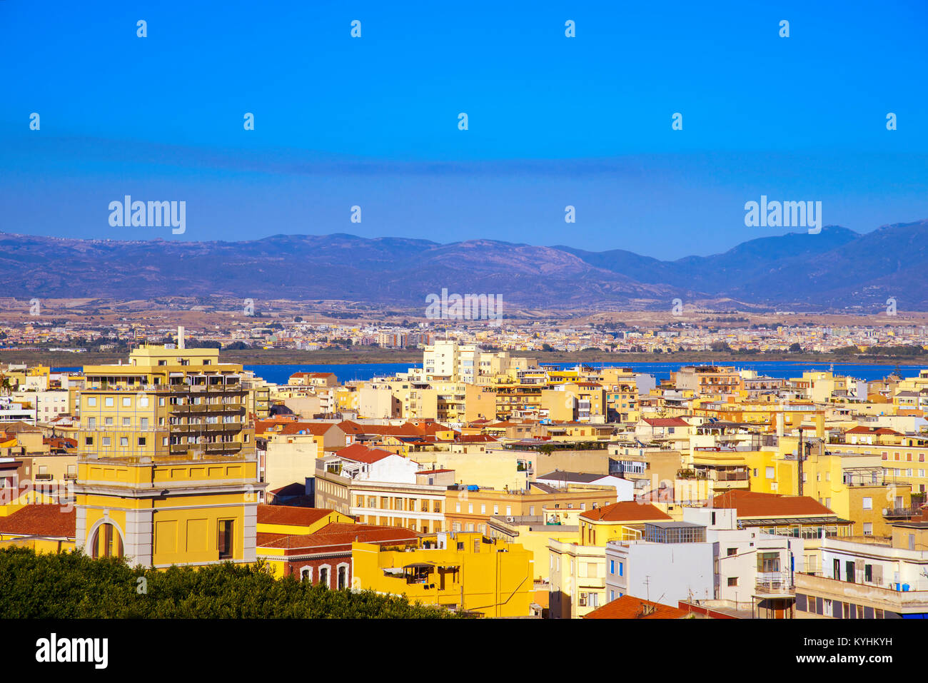 an aerial view of Cagliari, in Sardinia, Italy, with the Montelargius lake and Quartu Sant Elena in the background - Stock Image