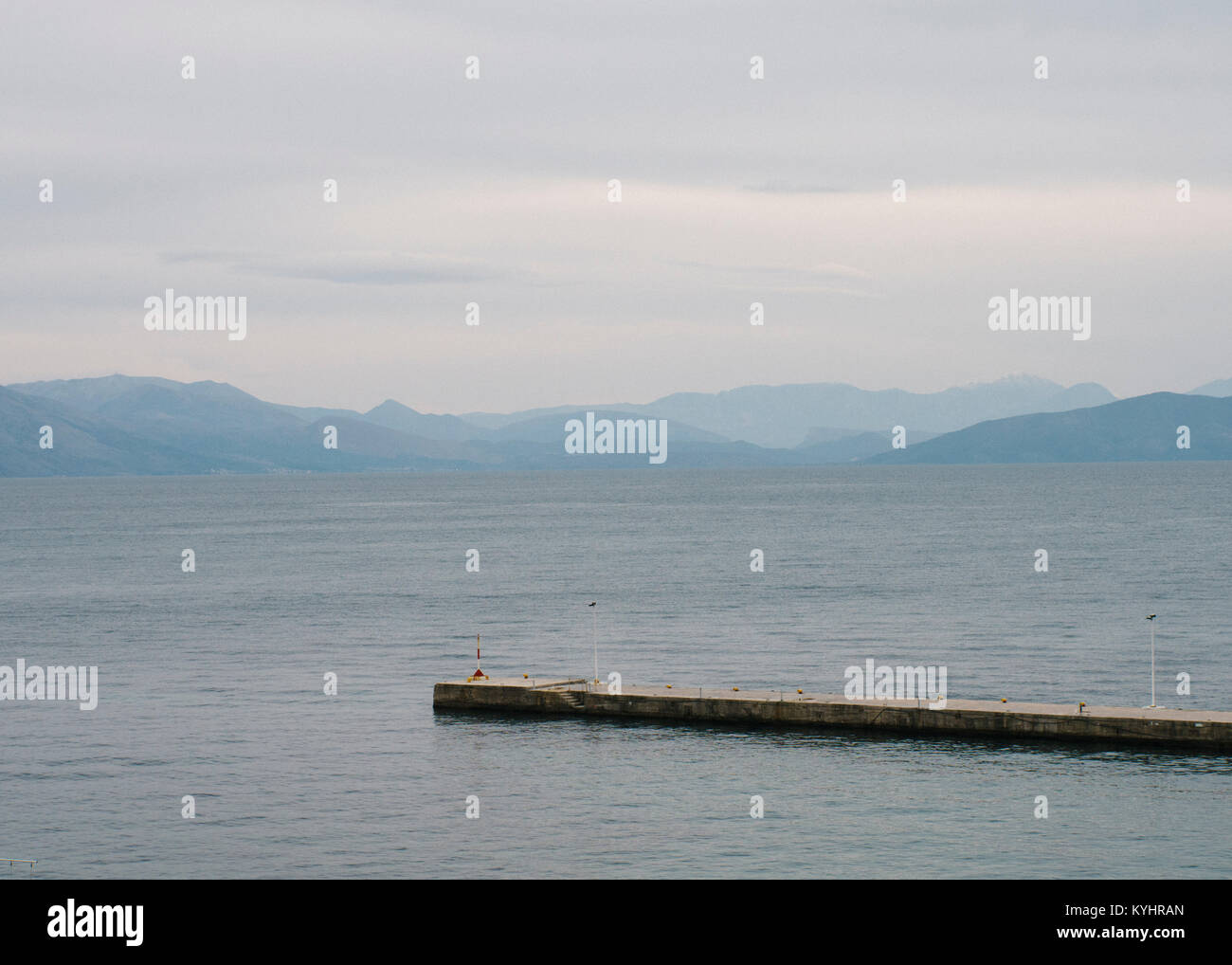 Looking over to the greek mainland from Corfu. - Stock Image