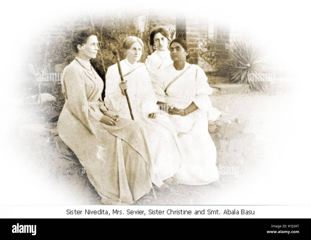 Sister Nivedita, Charlotte Sevier, Sister Christine and Lady Abala Bose in Mayavati - Stock Image