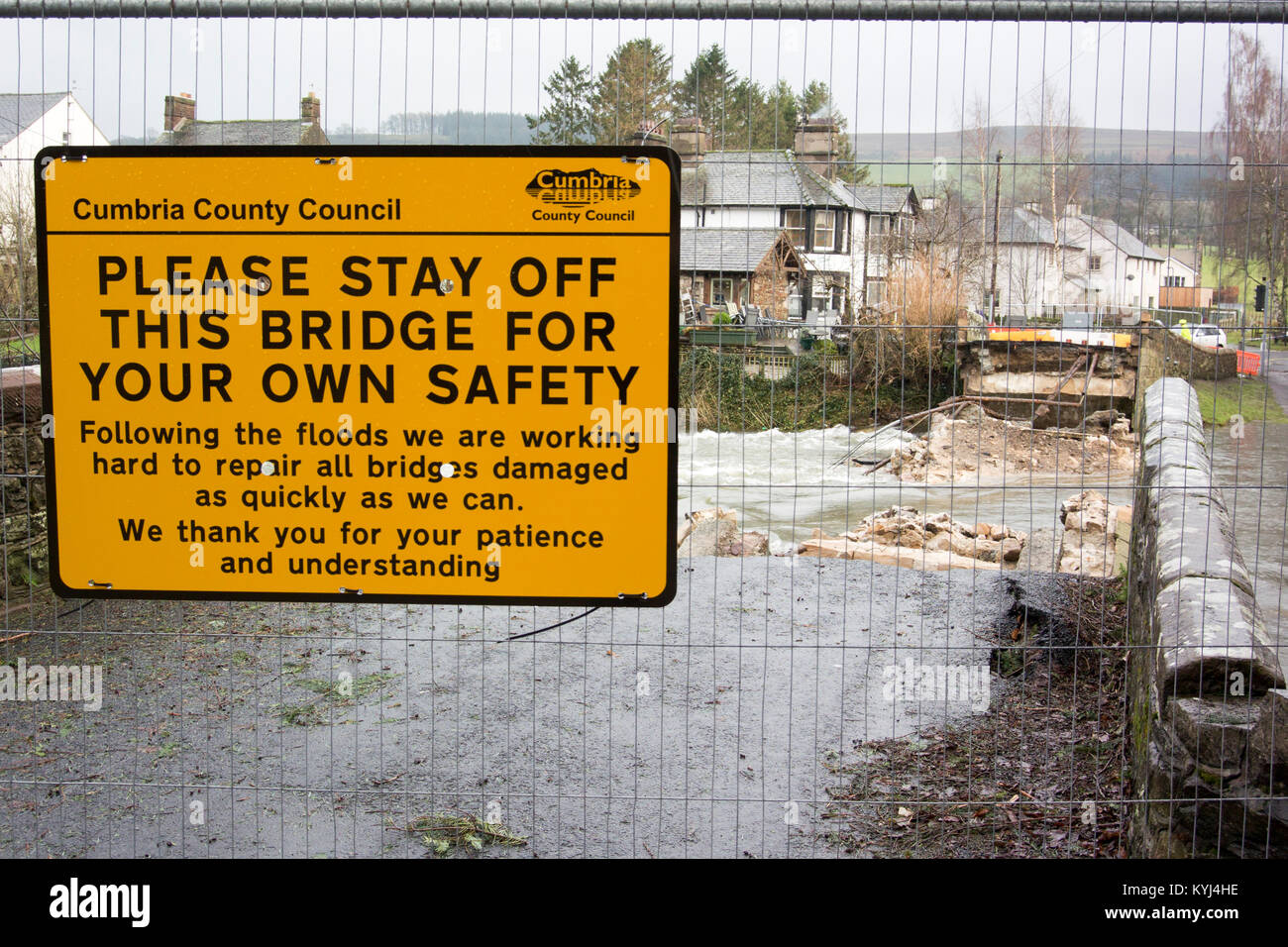 Safety barriers protecting bridge washed away after Storm Desmond in Cumbria, UK, 2015. - Stock Image