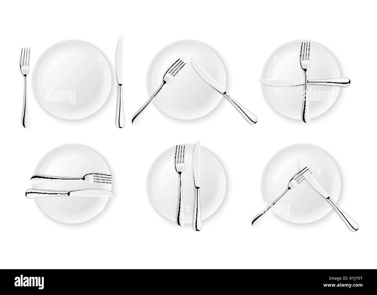 Realistic cutlery and signs of table etiquette, vector icons