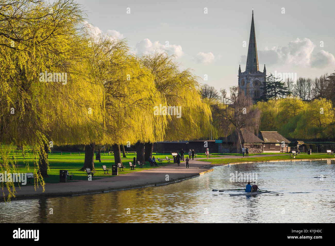 Stratford Upon Avon, view of the willow-lined River Avon and Holy Trinity Church in the centre of Stratford Upon - Stock Image