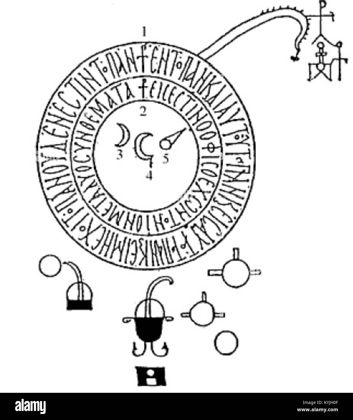 Stylised figure from Kleopatra's alchemical Chrysopoeia - Stock Image