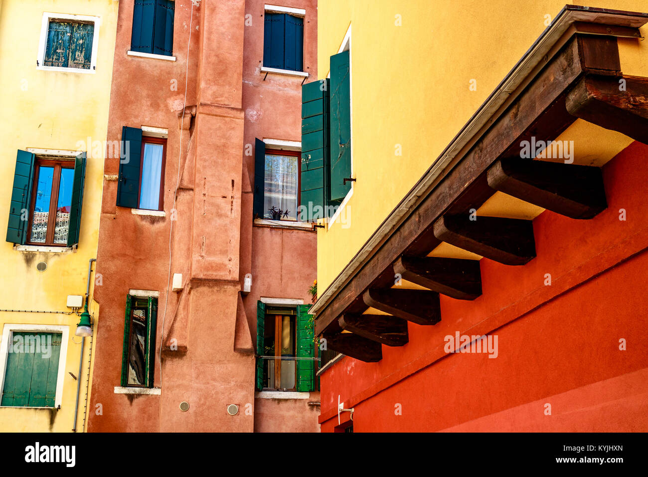 Bold colourful buildings in Venice, Italy. - Stock Image