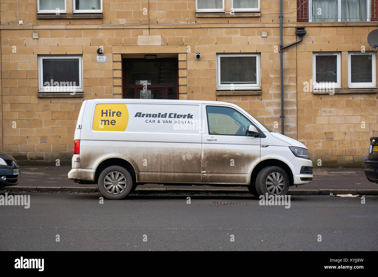 3bf9364101 White van from the car and van rental company Arnold Clark. - Stock Image