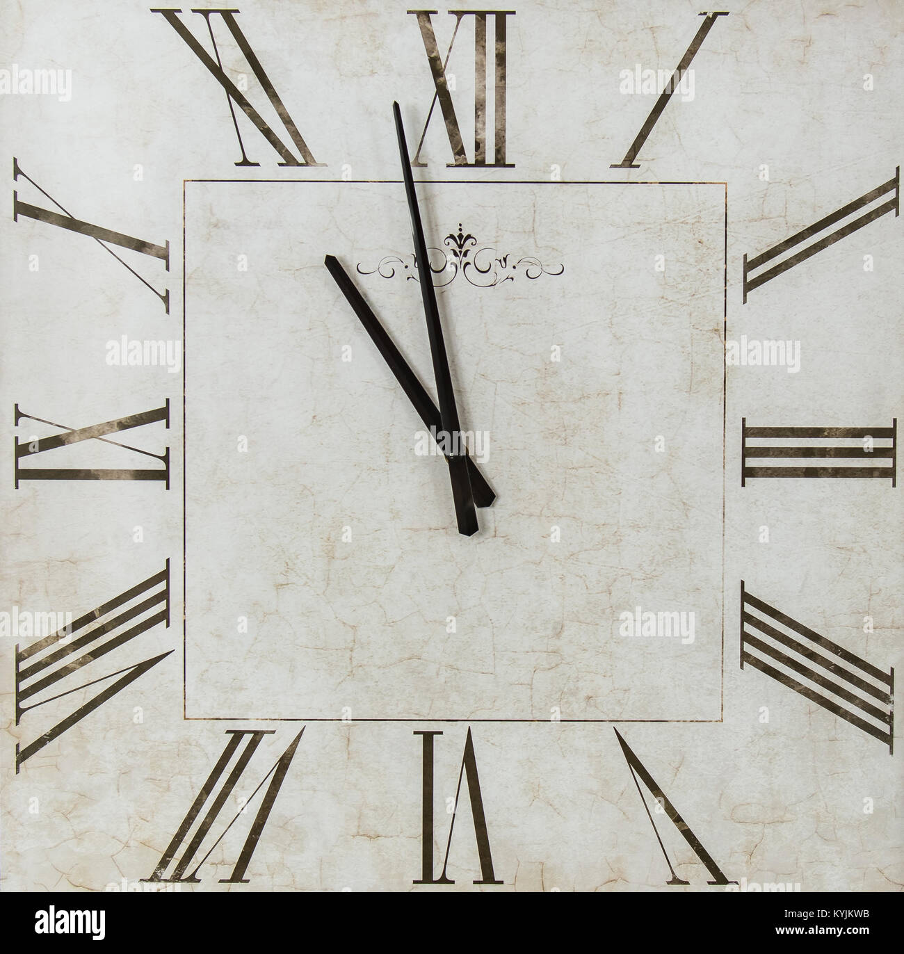 Antique Square Time Piece Clock White background with Black Roman Numerals - Stock Image