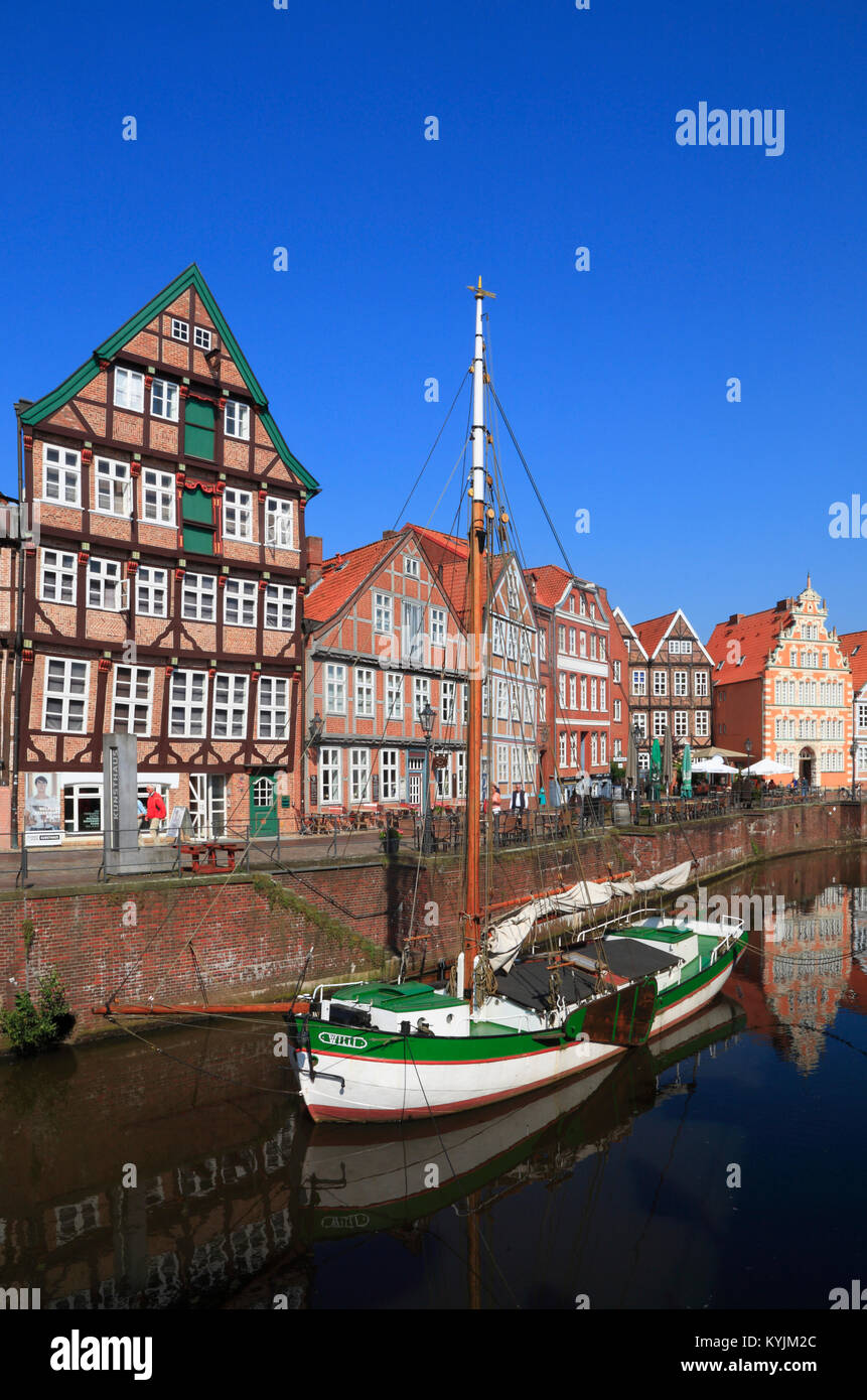 Ewer WILLI in the historic, Harbor, Stade, Altes Land, Lower Saxony, germany Stock Photo
