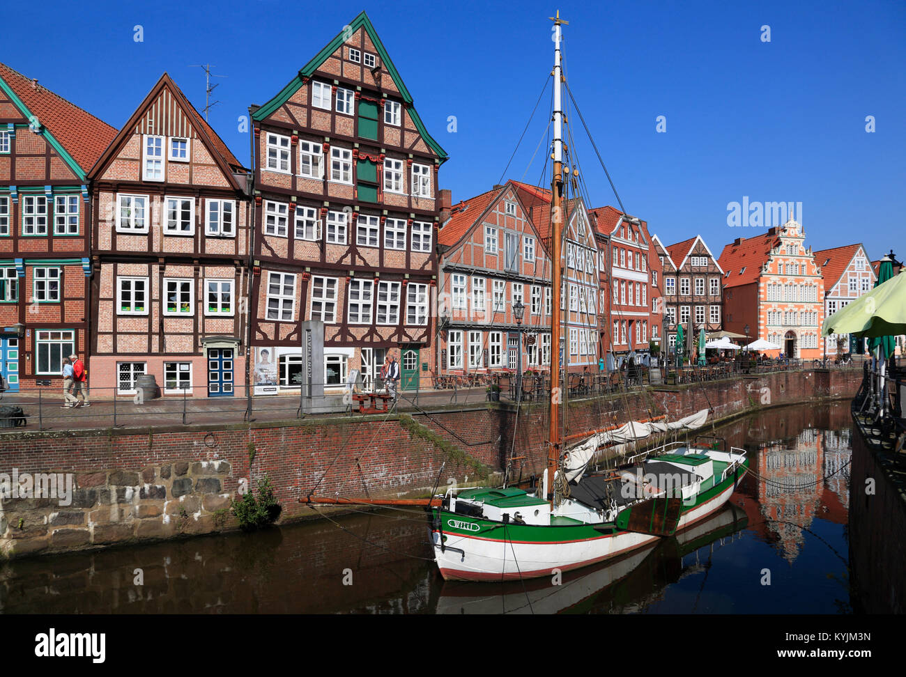 Ewer WILLI  in  the historic harbor of Stade, Altes Land, Lower Saxony, Germany Stock Photo
