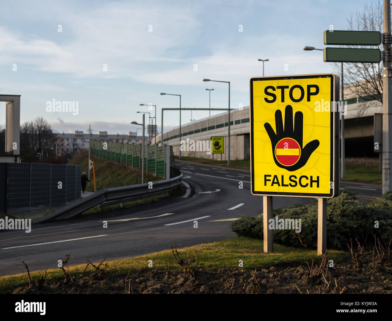 Stop sign to prevent wrong-way drivers on the motorway, Vienna Austria - Stock Image