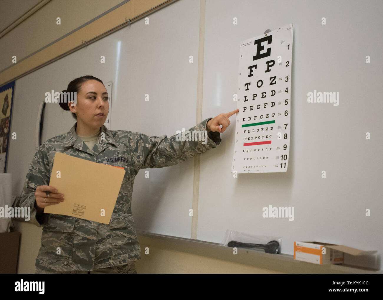 U.S. Air Force Airman 1st Class Danielle Fuhriman, aerospace medical technician from the 173rd Medical Group, Oregon Stock Photo