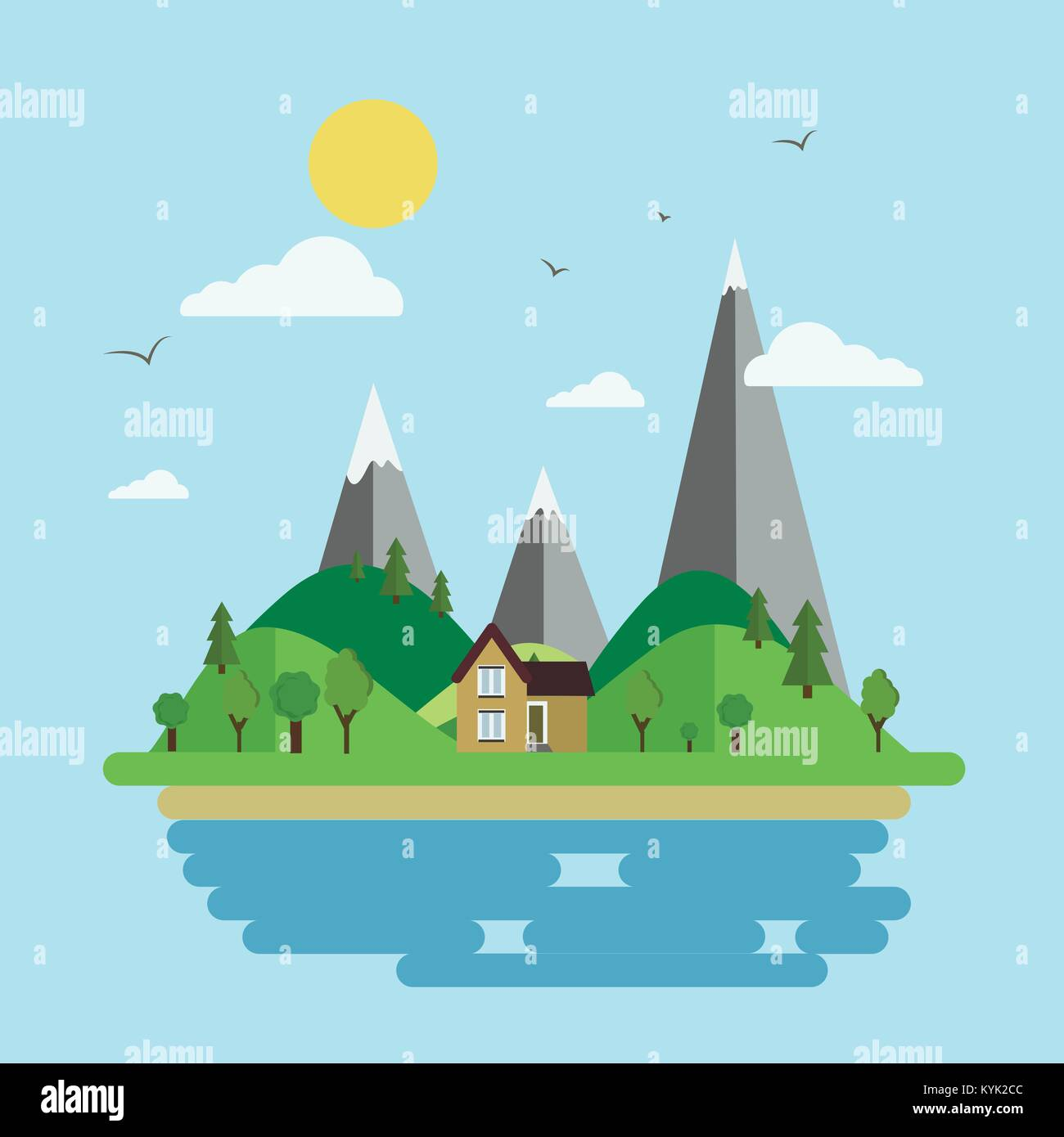 Vector illustration of island and seascape. - Stock Vector
