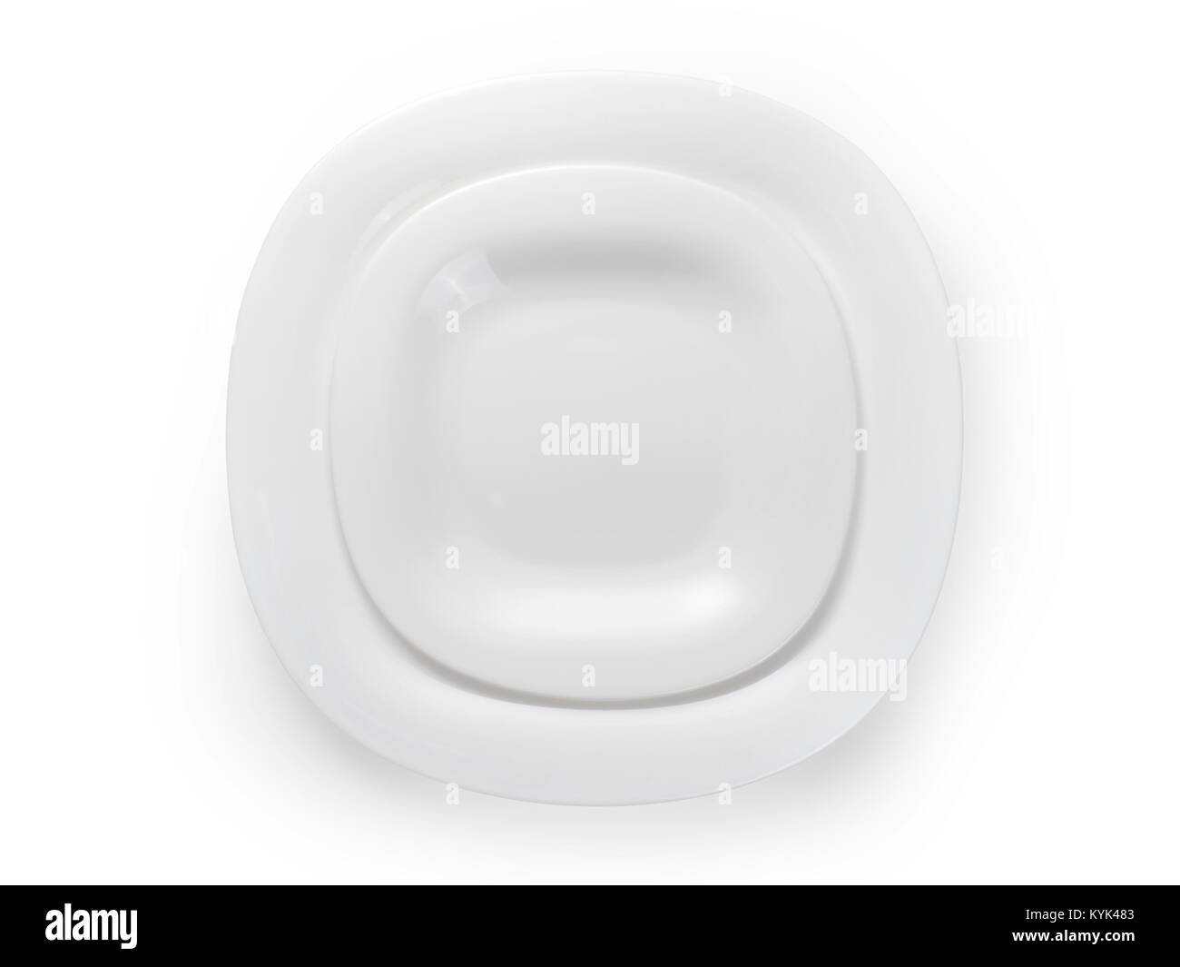 Two white modern square plates. Table setting top view. Isolated on white clipping path included  sc 1 st  Alamy & Two white modern square plates. Table setting top view. Isolated on ...