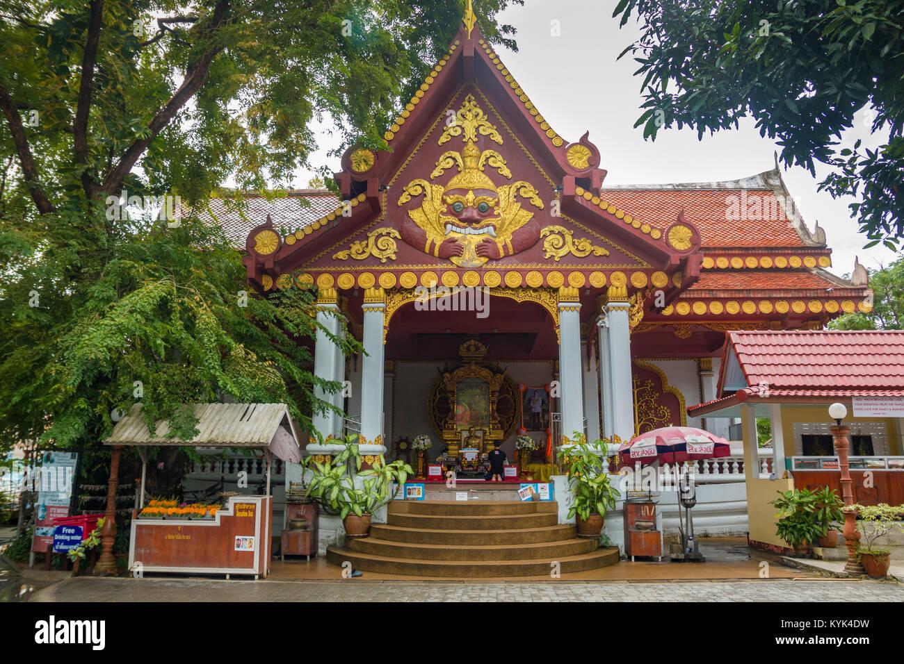 SAMUI, THAILAND - 06.11.2017: Mummified monk Loung Pordaeng in Wat Khunaram temple in Koh Samui in Thailand Stock Photo