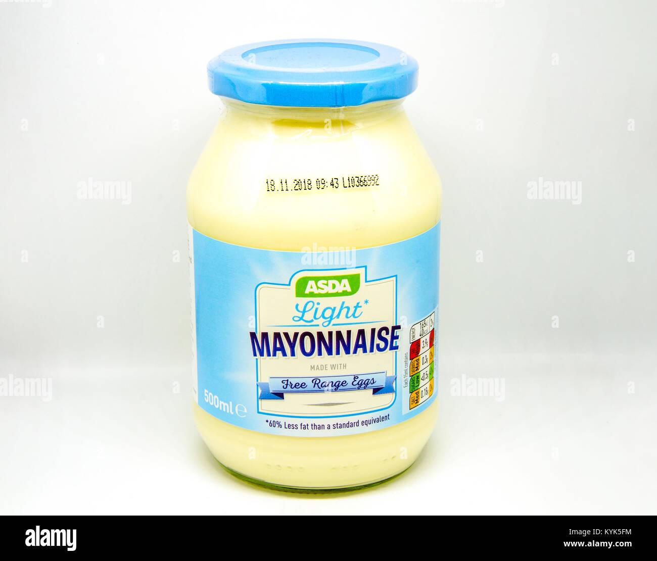 A Jar Of Asda Light Mayonnaise Photographed Against A White