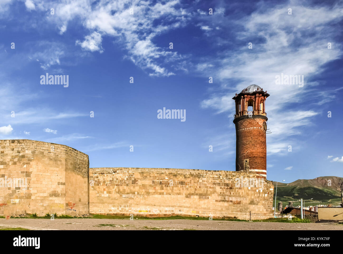 Exterior view of Tray Minaret or Clock tower, Erzurum Castle, Erzurum, Turkey.18 May 2017 - Stock Image