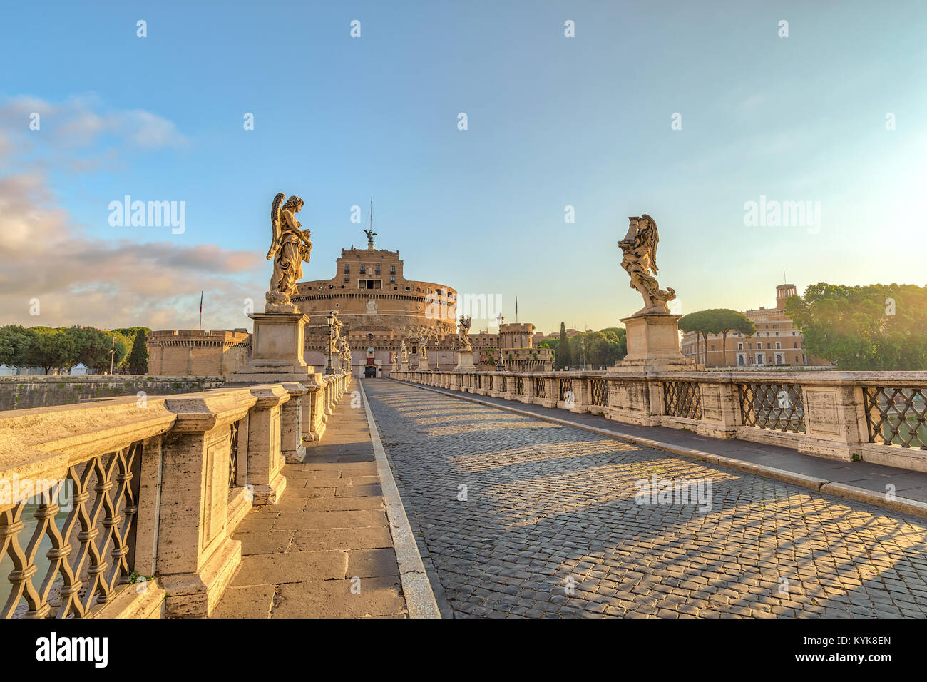Rome sunrise city skyline at Castel Sant Angelo and Tiber River, Rome (Roma), Italy - Stock Image
