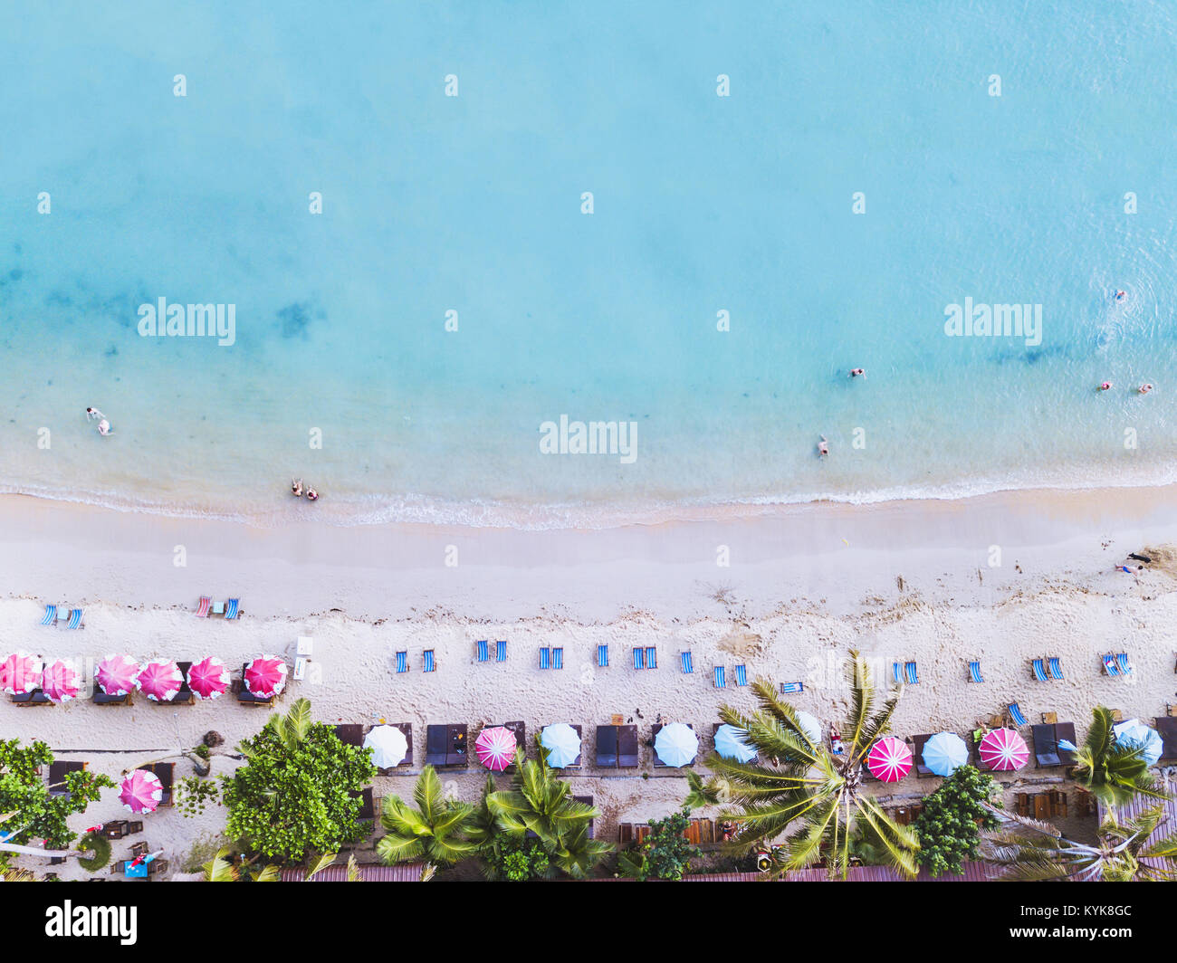 aerial landscape of beautiful tropical beach, top view from drone - Stock Image