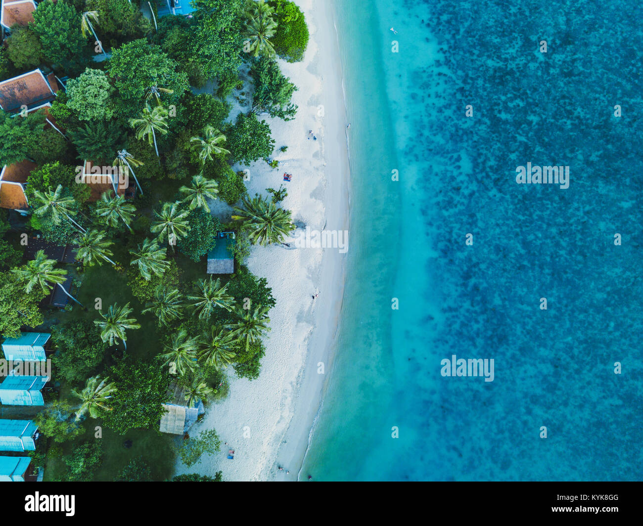 vacation on the beach aerial landscape, drone view of paradise island coast Stock Photo