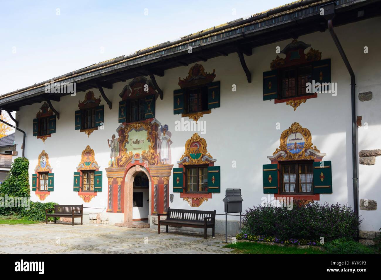 Ruhpolding: Town Hall with paintings Lüftl-Malerei, Oberbayern, Chiemgau, Upper Bavaria, Bayern, Bavaria, Germany - Stock Image