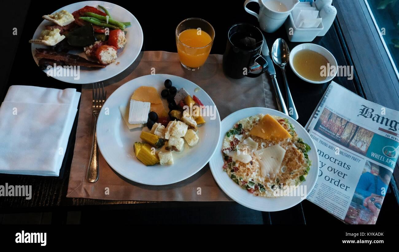Hilton Hotel Edge Restaurant Sumptuousness Lavish Epicure Gourmet Breakfast Buffet Smorgasbord All You Can Eat Fine - Stock Image