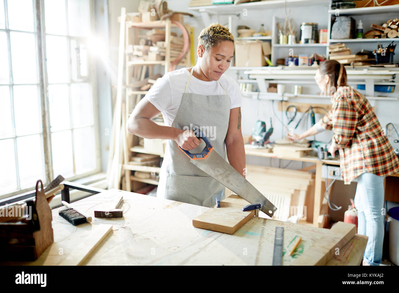 Carpenters in workshop - Stock Image