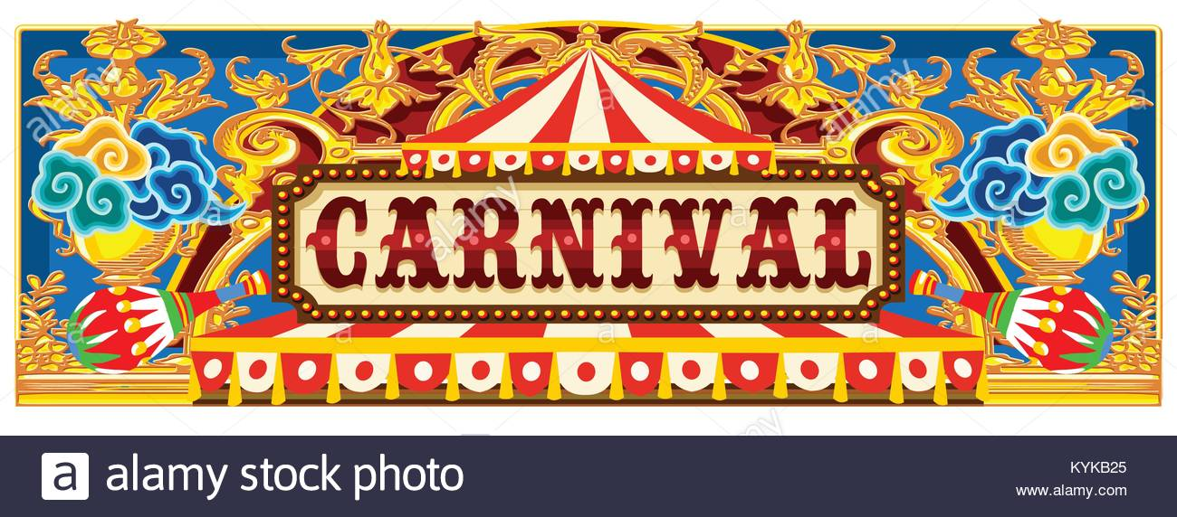 Carnival Banner Circus Template Vintage Theme For Kids Birthday Party Invitation Or Post Quality Vector Illustration