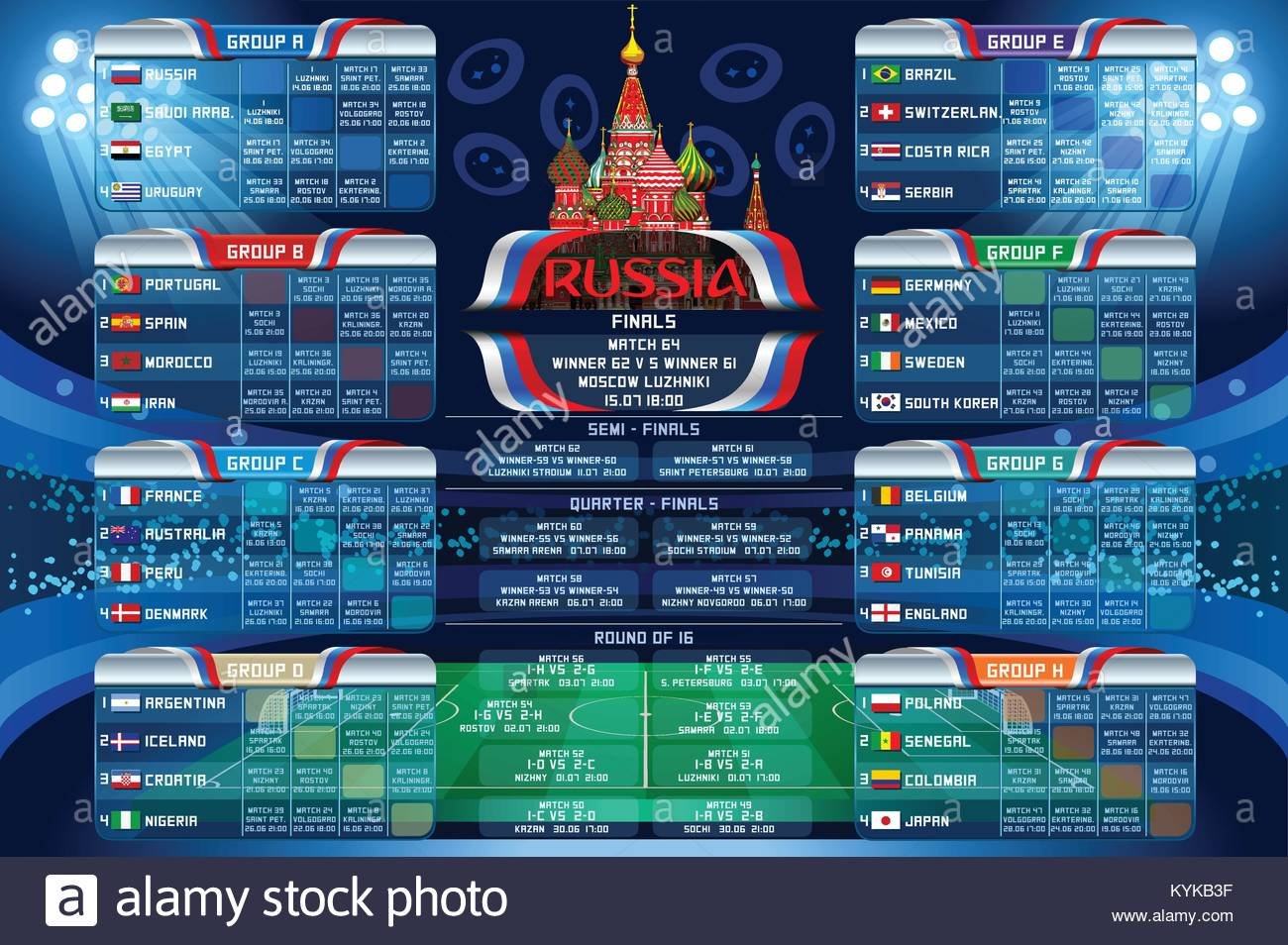 Russia 2018 world cup calendar. Soccer schedule table template
