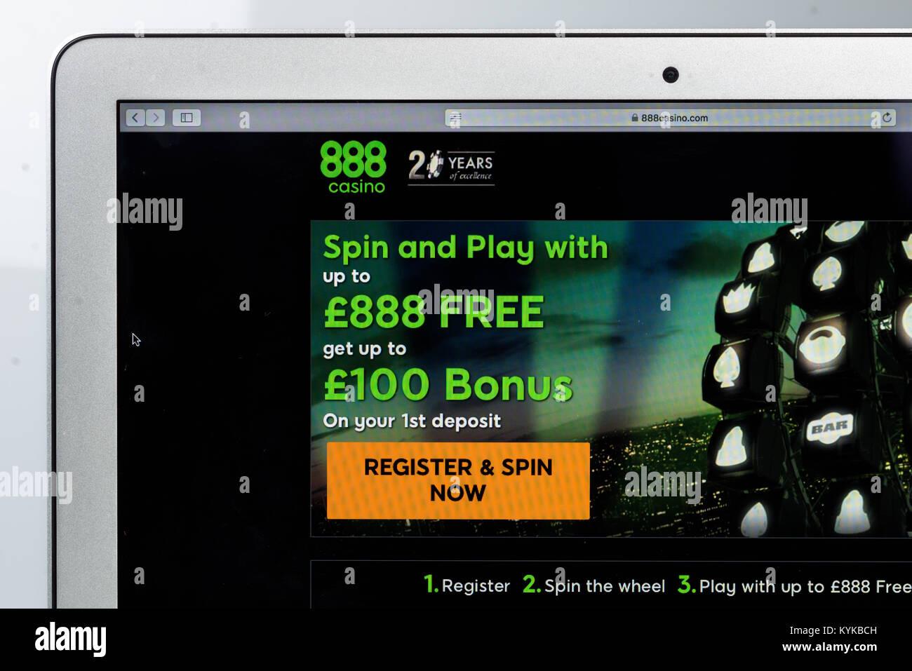 888.com online casino site. - Stock Image