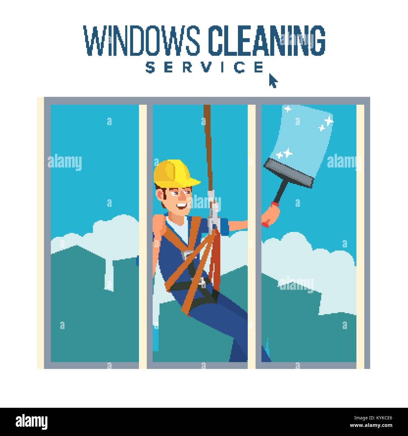 Window Washer Worker Vector. Man Cleaning Window Squeegee Spray. Window Washer Is Cleaning High Building. Cartoon - Stock Vector