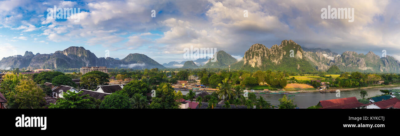 Panorama viewpoint and beautiful landscape at Vang Vieng, Laos. - Stock Image