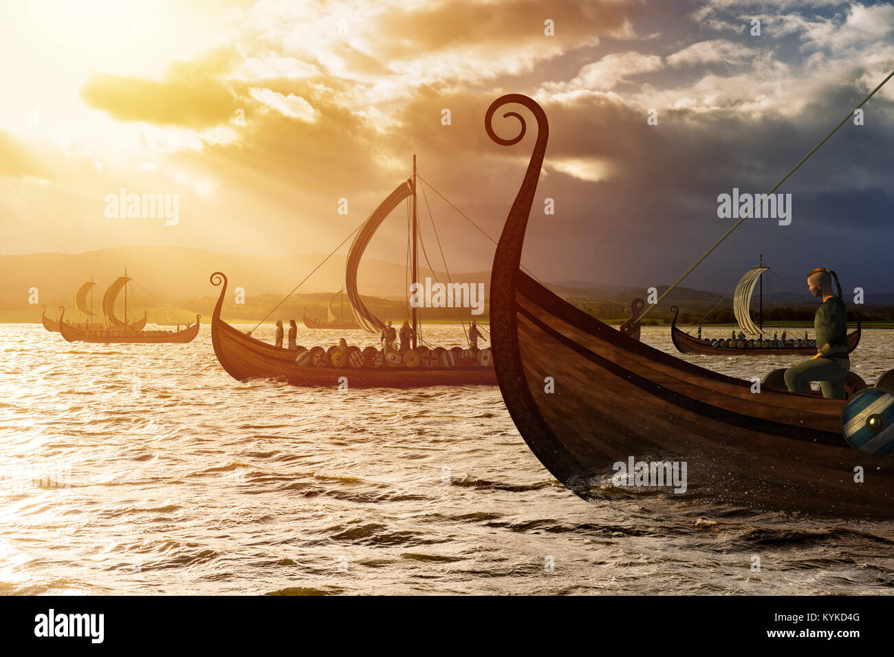 Viking ships on the water under the sunlight and dark storm. Invasion in the storm. - Stock Image