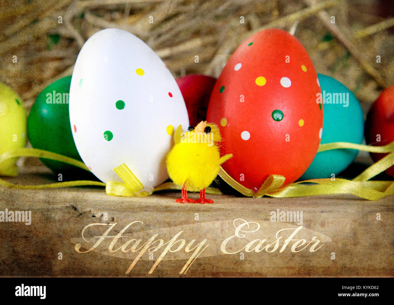 happy easter vintage background with text Stock Photo