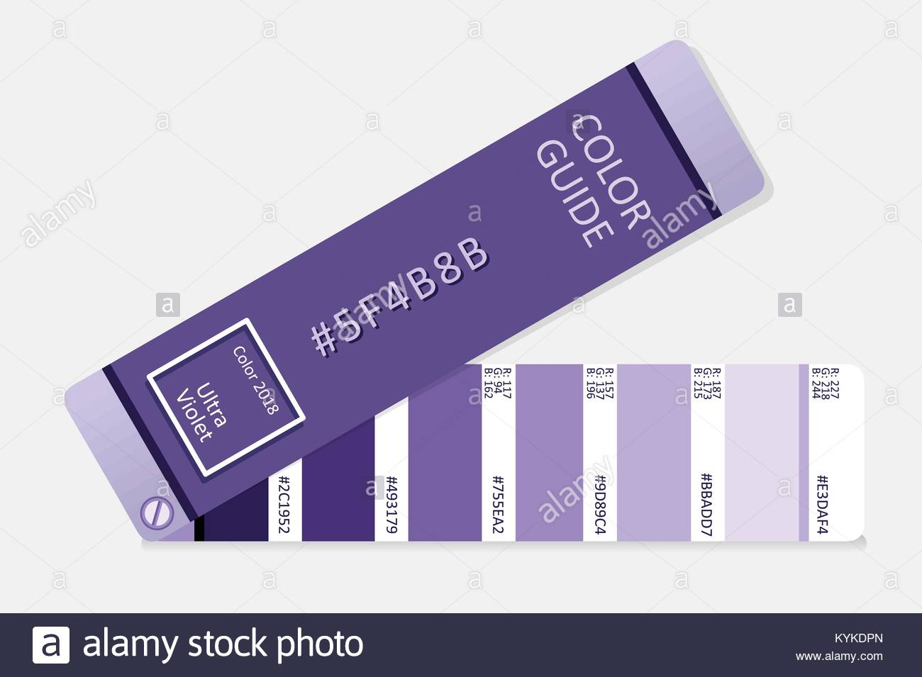 Ultra violet color of the year 2018. Color palette guide. Color ...