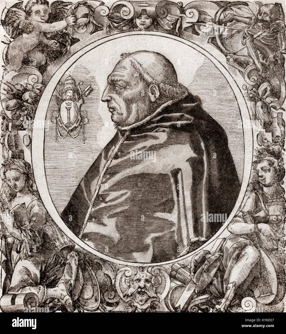 Martinus V, 1369 -1431, born Otto or Oddone Colonna, Pope from 1417 to 1431 - Stock Image