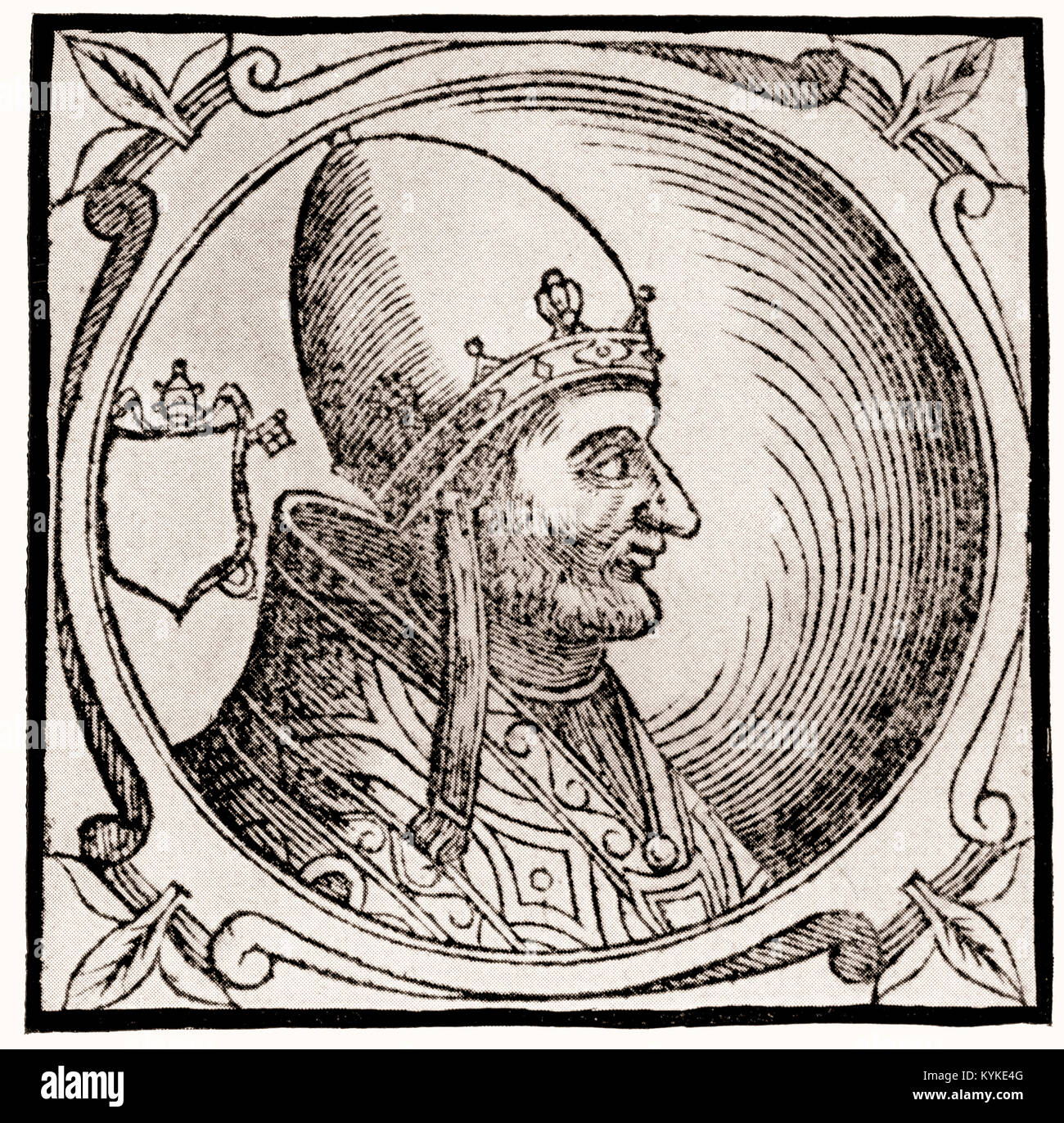 Pope Adrian IV or Adrianus IV, born Nicholas Breakspear, pope from 1154 to 1159, - Stock Image