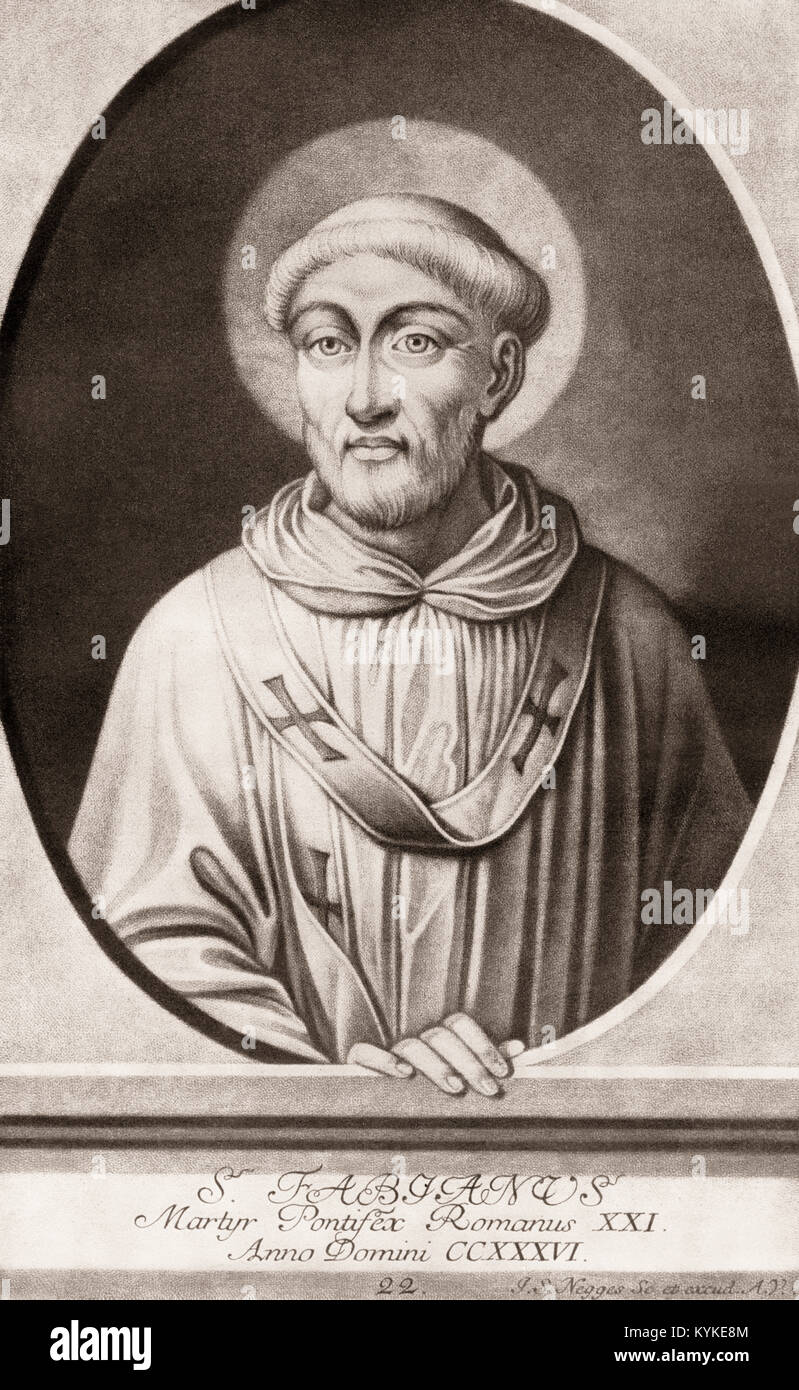 Fabian, c. 200 – 20 January 250, was pope from 10 January 236 to his death - Stock Image