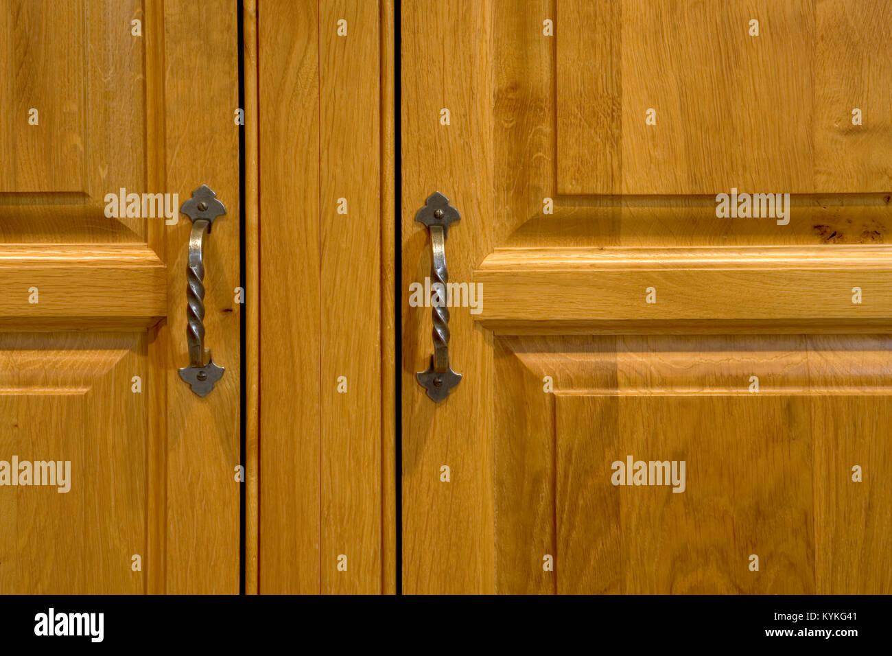 Upmarket kitchen cupboard panelled door close-up & Upmarket kitchen cupboard panelled door close-up Stock Photo ...