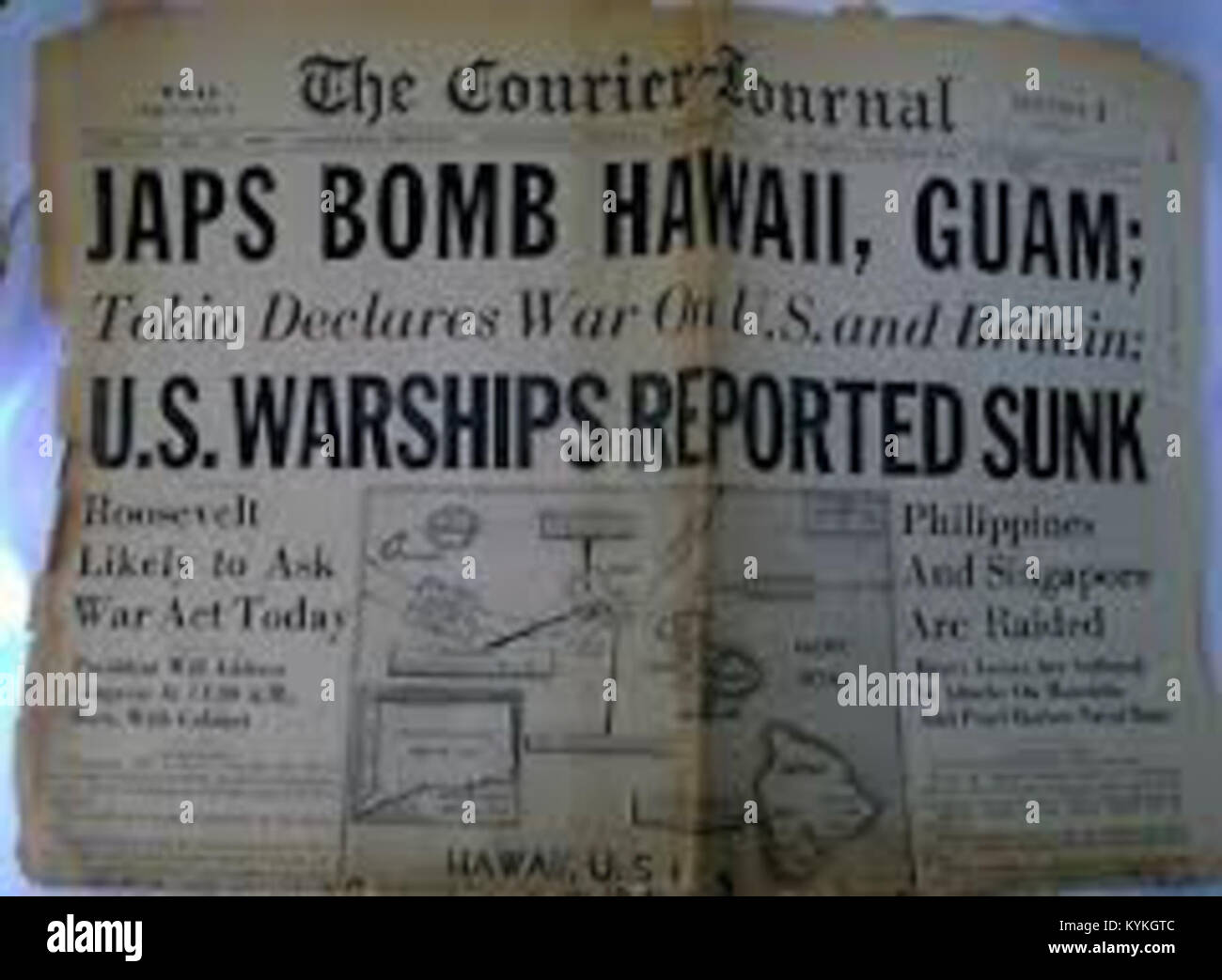 Vintage Newspaper Front Page Japan Declares War On The United States