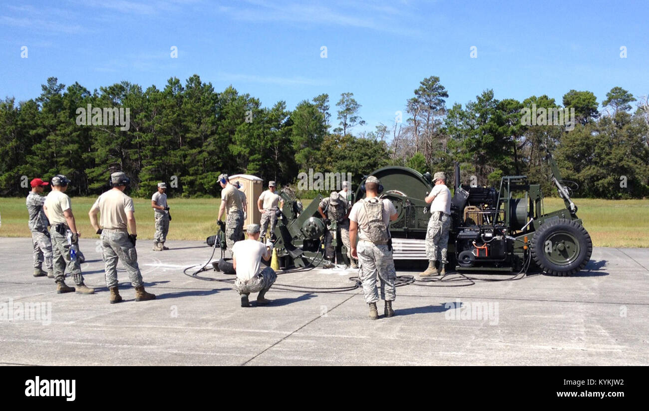 Troops from the Kentucky Air National Guard's 123rd Civil Engineer Squadron join with other Airmen to anchor a Mobile Stock Photo