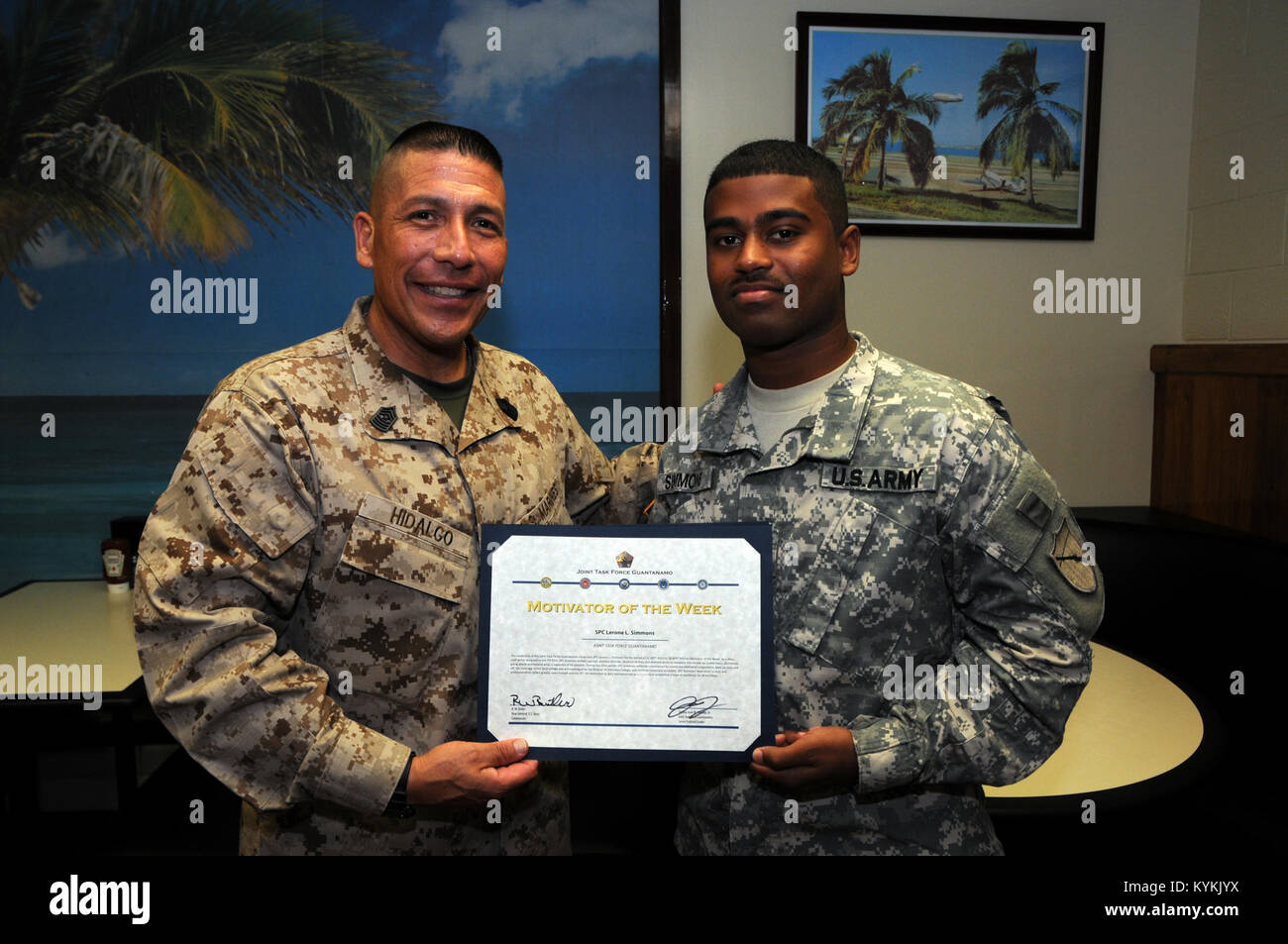 U.S. Marine Corps. Sgt. Maj. Juan Hidalgo, Jr., Senior Enlisted Leader at U.S. Naval Station Guantanamo Bay, Cuba, Stock Photo