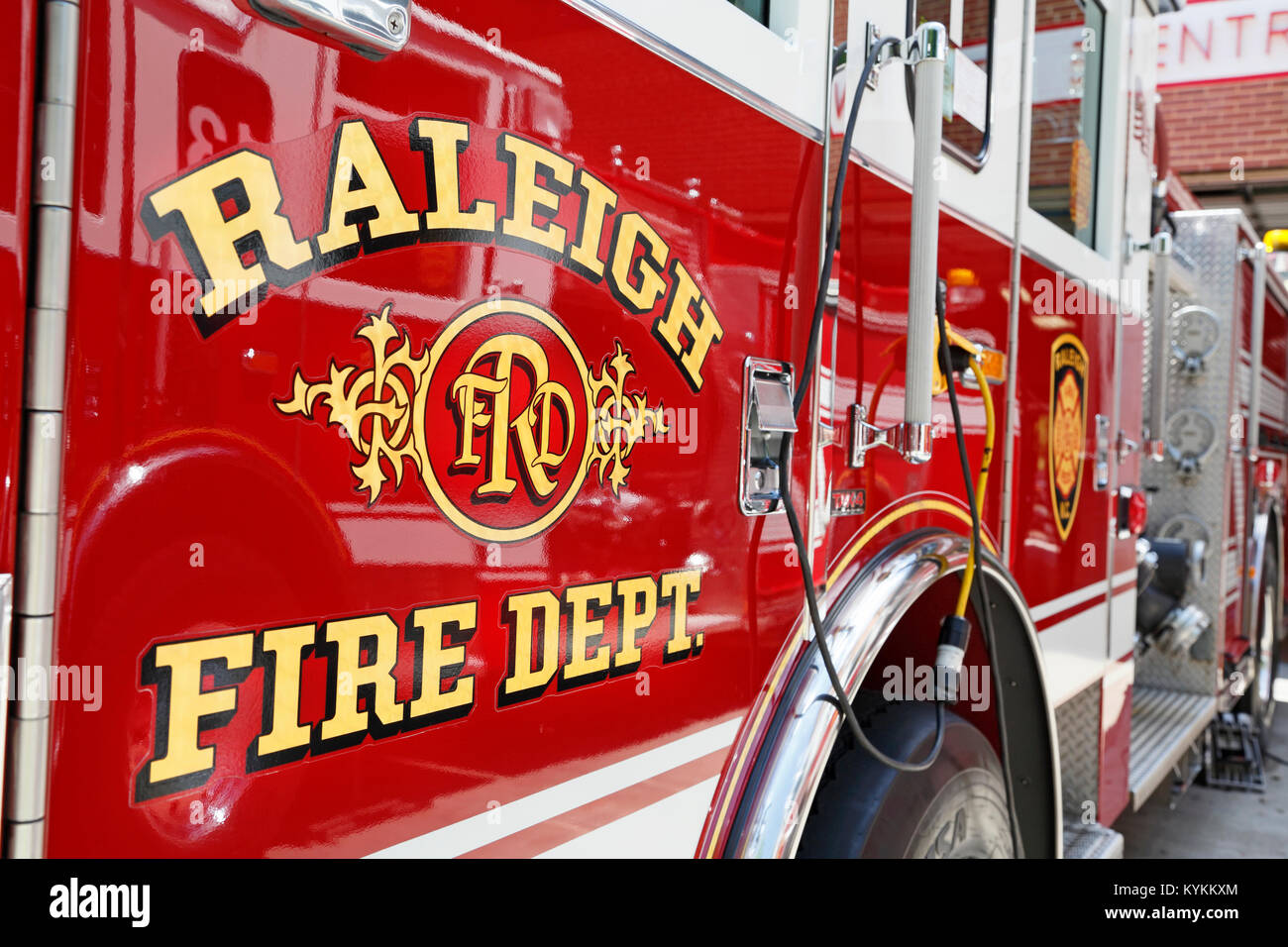 Raleigh Fire Department fire truck closeup, North Carolina. Stock Photo