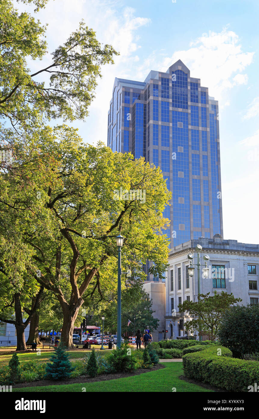 Raleigh downtown, North Carolina. Wells Fargo bank building seen from the Capitol grounds. Stock Photo