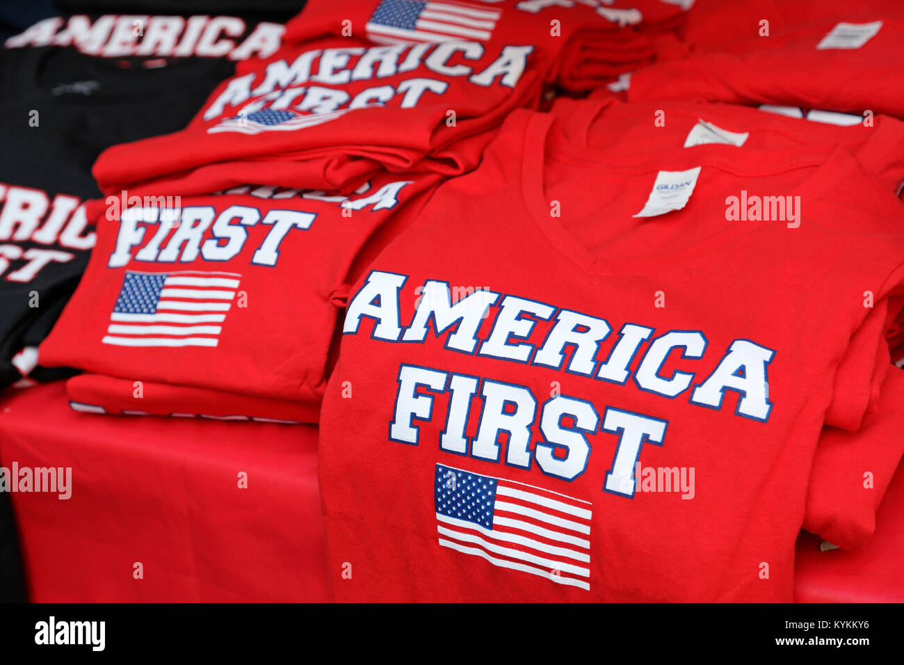America First T-shirts on sale at Ray Price Capital City Bike fest in Raleigh, North Carolina, on September 23, Stock Photo