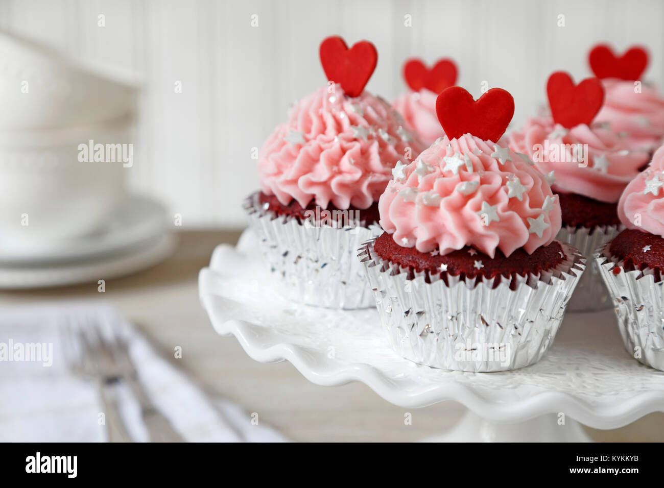 Cupcakes. Red velvet cupcakes decorated with red hearts Stock Photo