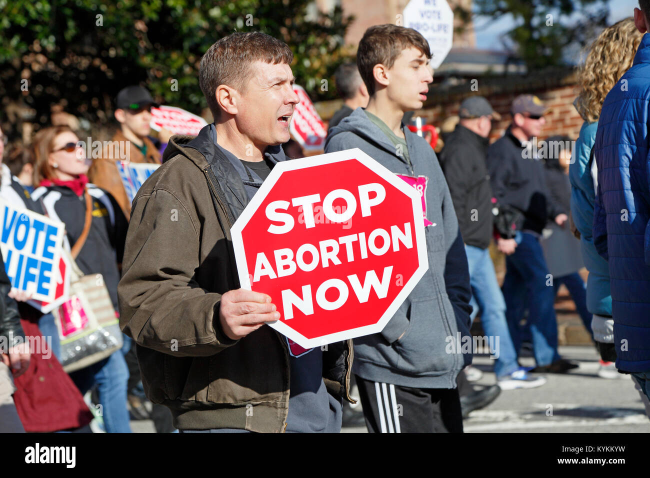 Raleigh, North Carolina. 13th January, 2018. Pro-life rally and demonstration in downtown Raleigh. Man shouting - Stock Image