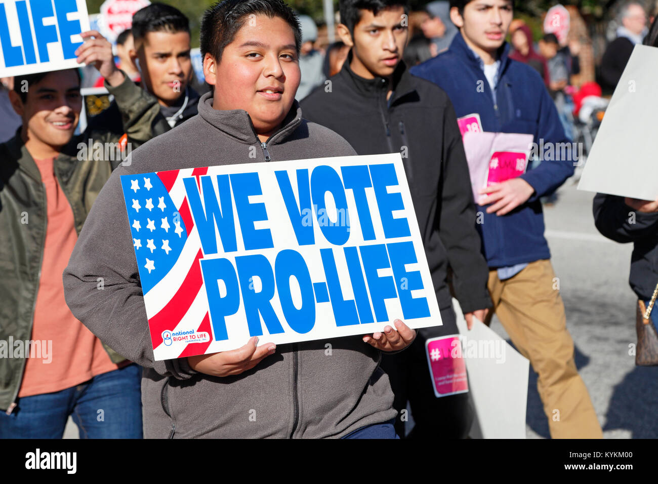 Raleigh, North Carolina. 13th January, 2018. Pro-life rally and demonstration in downtown Raleigh. - Stock Image