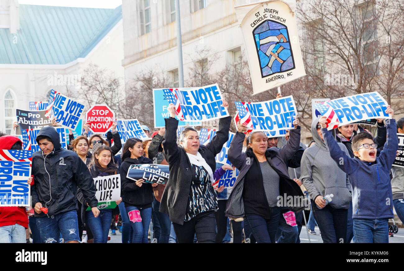Raleigh, North Carolina. 13th Jan, 2018. Pro-life rally and demonstration in downtown Raleigh. - Stock Image