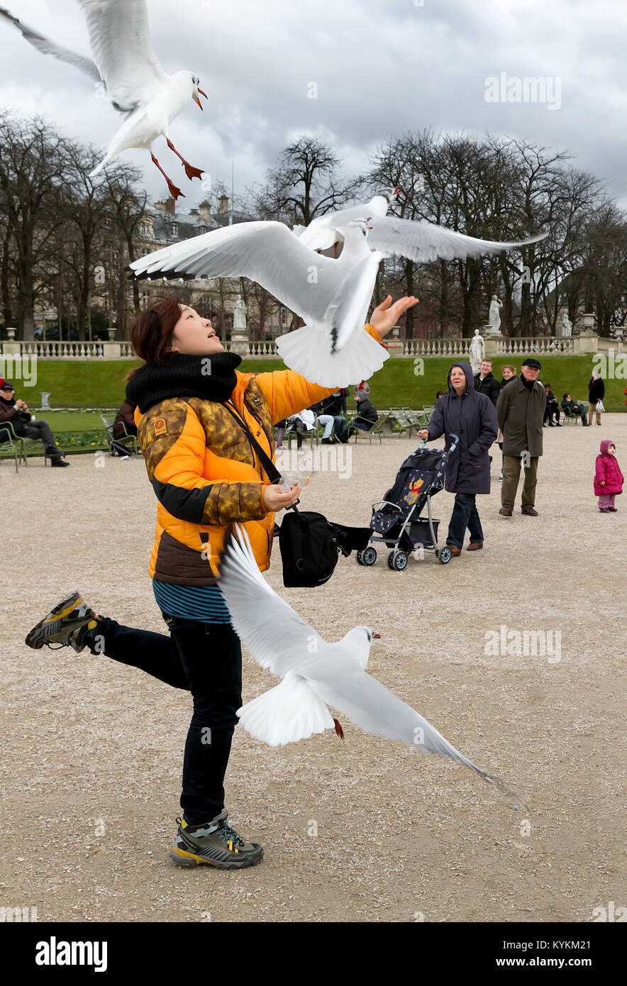 PARIS-JAN 4, 2014:An unidentified woman tosses food up in the air for birds to catch at the Luxembourg Gardens, Stock Photo