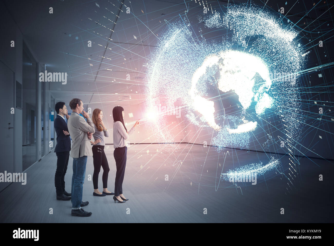 Group of people watching holographic of the earth. Astronomy concept. - Stock Image