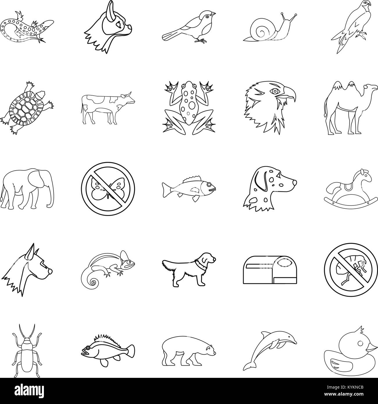 Darling icons set, outline style - Stock Image
